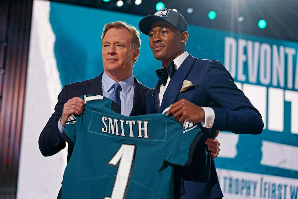 DeVonta Smith went to the Philadelphia Eagles as the No. 10 overall pick in the first round.