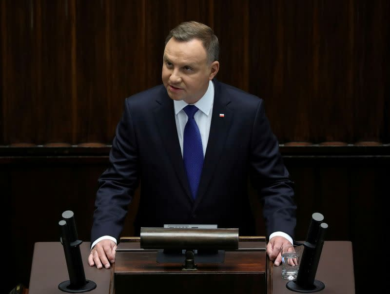 FILE PHOTO: Newly sworn-in President of Poland Andrzej Duda addresses Parliament in Warsaw