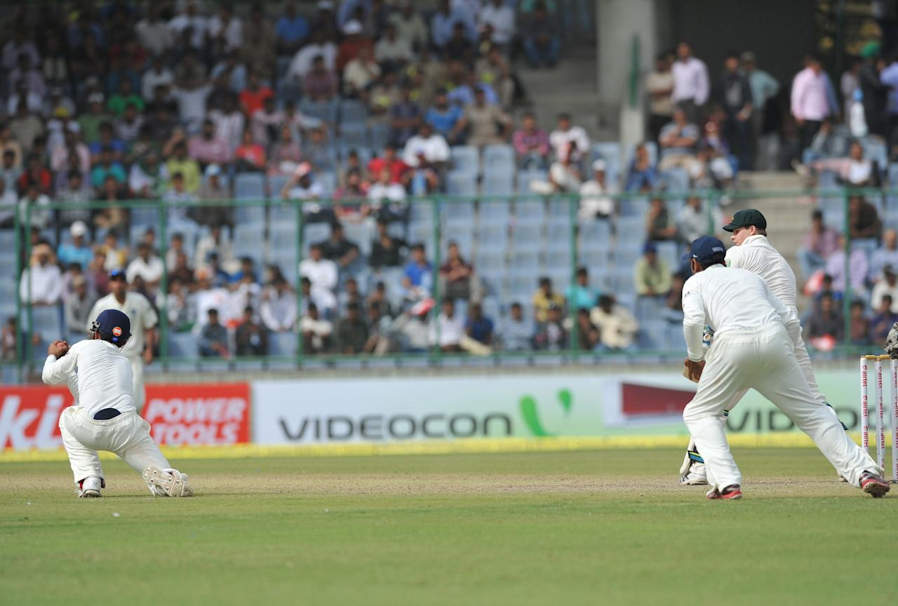 Steven Smith of Australia being caught out by Ajinkya Rahane of India during the 4th test match of Border Gavaskar Trophy, at Ferozeshah Kotla Stadium in Delhi on March 22, 2013. P D Photo by Asish Maitra