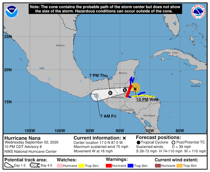 Hurricane Nana formed Wednesday night becoming the sixth hurricane of the 2020 season.