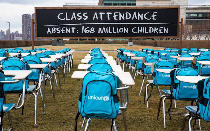 UNICEF unveils Pandemic Classroom at UN Headquarters in New York to raise awareness - Getty Images North America/UNICEF via Getty Images