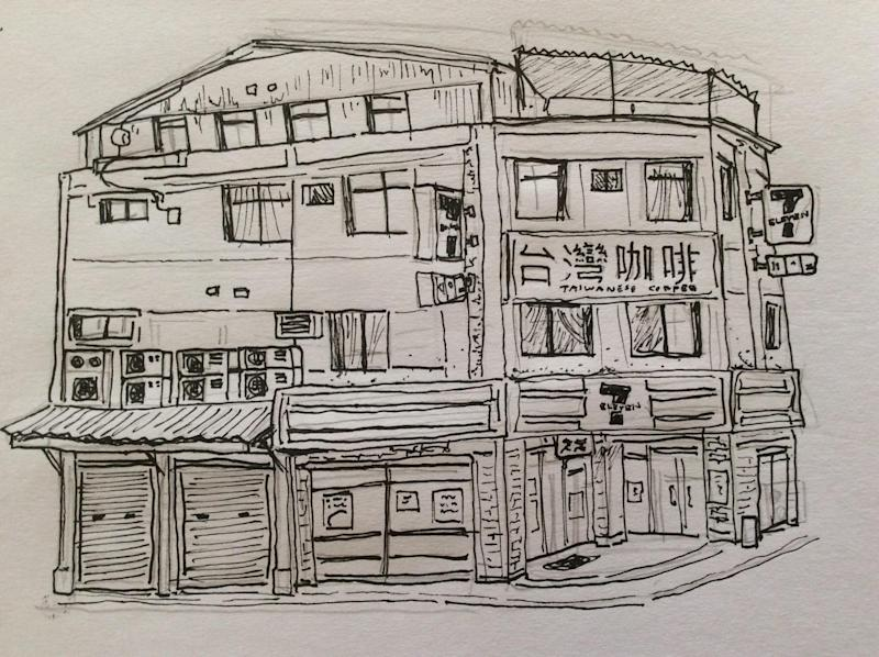 <p>Elijah Toledo's drawing on Taipei scene (Courtesy of Elijah Toledo)</p>