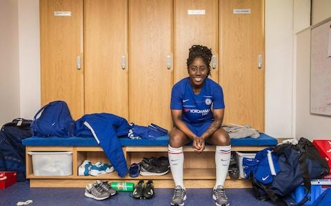 Defender Anita Amma Ankyewah Asante. Chelsea Ladies F.C. become Chelsea F.C. Women while also celebrating their double winning season
