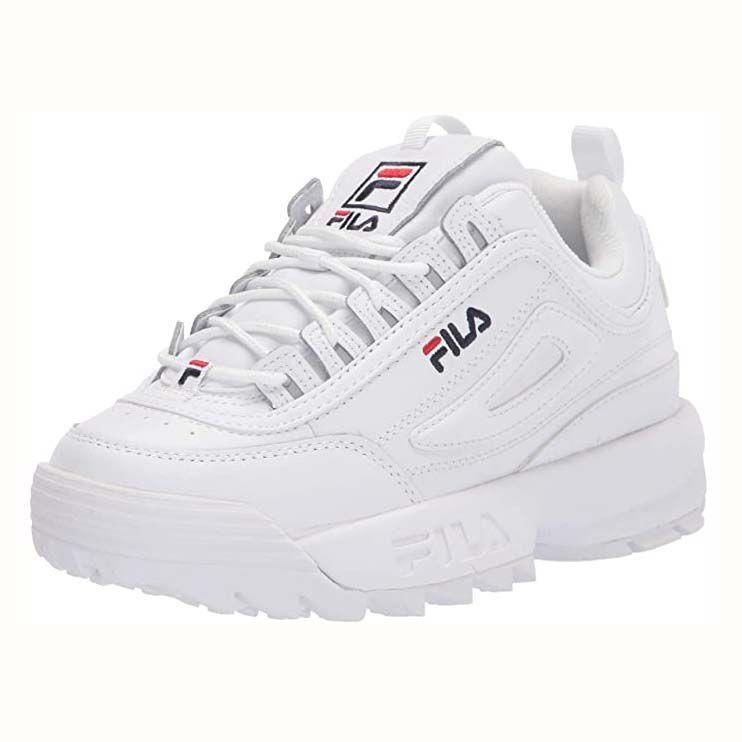 "<p><strong>Fila</strong></p><p>amazon.com</p><p><strong>$119.20</strong></p><p><a href=""https://www.amazon.com/dp/B07BLK8R3X?tag=syn-yahoo-20&ascsubtag=%5Bartid%7C10055.g.36201118%5Bsrc%7Cyahoo-us"" rel=""nofollow noopener"" target=""_blank"" data-ylk=""slk:Shop Now"" class=""link rapid-noclick-resp"">Shop Now</a></p><p>Definitely a youthful style popularized by Gen-Z, Disruptor Trainers from Fila are <strong>oversized sneakers with a hidden platform</strong>. With over 22,000 rave Amazon reviews, reviewers love the '90s aesthetic and comfortable fit. </p>"