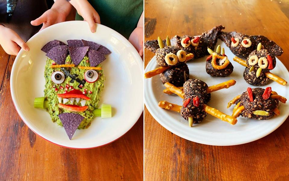 """<span class=""""caption"""">A monster face made of guacamole and vegetables, left, and owls and spiders made from sesame seeds are great fun for kids and healthy, too.</span> <span class=""""attribution""""><span class=""""source"""">Emily Ventura</span>, <a class=""""link rapid-noclick-resp"""" href=""""http://creativecommons.org/licenses/by-sa/4.0/"""" rel=""""nofollow noopener"""" target=""""_blank"""" data-ylk=""""slk:CC BY-SA"""">CC BY-SA</a></span>"""