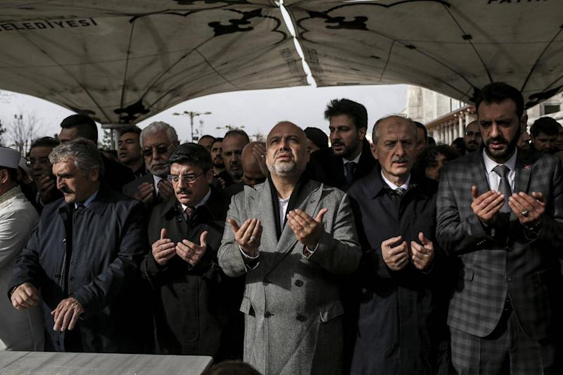 Hundreds of mourners gather in Istanbul last Friday for a traditional Muslim burial ceremony for Jamal Khashoggi, but without his body (Tara Todras-Whitehill)