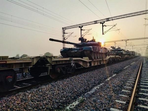 Army conducted successful trials on dedicated freight corridor by moving a military train loaded with vehicles and equipment from New Rewari to New Phulera. (Photo/ANI)