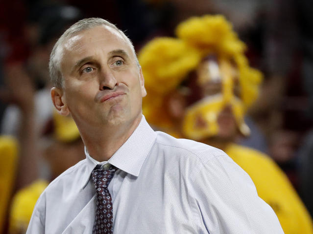Arizona State head coach Bobby Hurley reacts to a call during the first half of a game against Stanford. (AP Photo/Matt York)