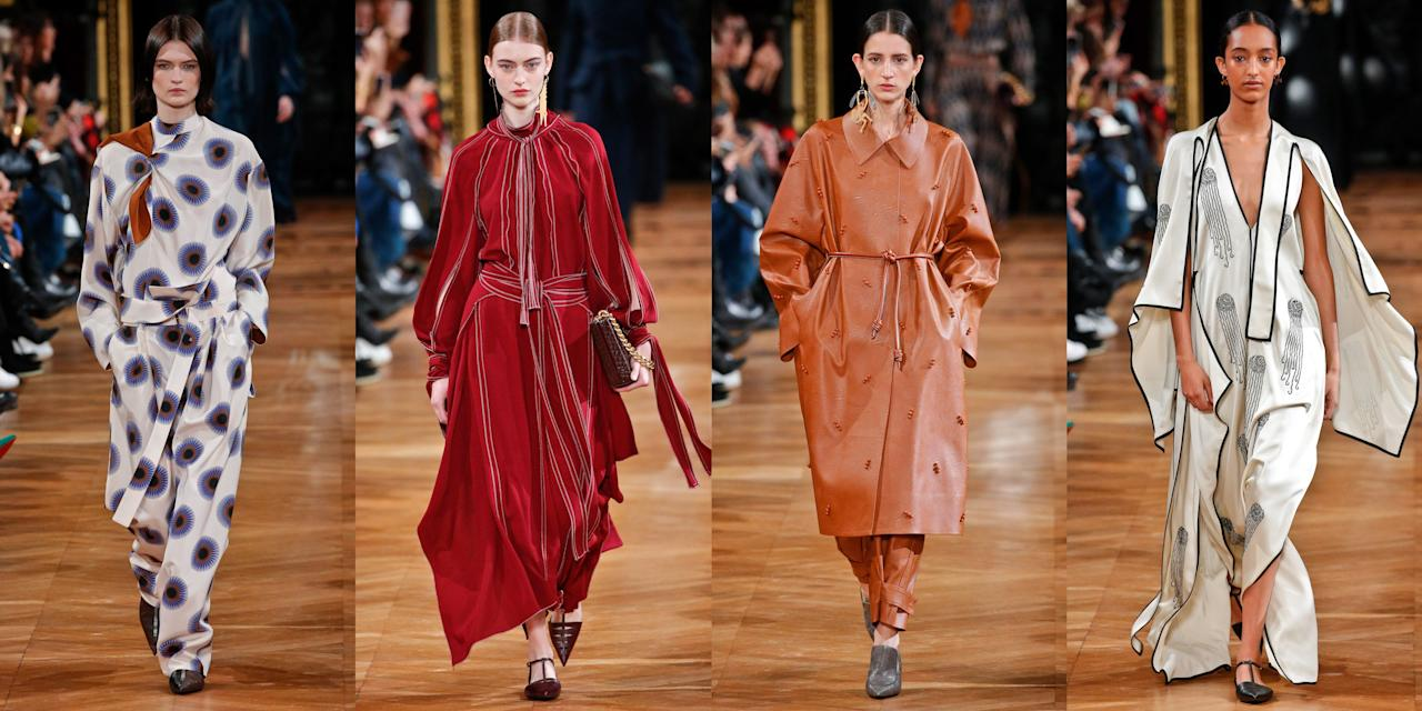 """<p>Stella McCartney's fall 2020 collection showcased her long-lasting love for animals and sustainable fashion. McCartney's guests were greeted by <a href=""""https://fashionista.com/2020/03/stella-mccartney-fall-2020-collection"""" target=""""_blank"""">people dressed in animal costumes</a>: There was a squirrel, a bunny rabbit, a cow, and a few others handing out <a href=""""https://www.vogue.com/fashion-shows/fall-2020-ready-to-wear/stella-mccartney"""" target=""""_blank"""">baby trees as gifts</a> to guest with the slogan, """"We should all be carbon-neutral now."""" The gift went on to explain that planting the trees will help offset the carbon dioxide produced by the designer's show. According to the show notes, this season's collection is a modernist take on an opulent fantasy and inspired by strong-willed women grounded in reality but have free spirits. McCartney took her love for animals to the next level by accessorizing many of the looks with wild animal-shaped jewelry in gold and silver. She also increased the amount of vegan leather offerings through out the collection. From whimsical prints created in collaboration with 1920s fashion illustrator Erté to silky pajama-like dresses, Stella McCartney continues to take a care-free approach and inspire the masses with eco-friendly fashion. Check out all the looks, ahead. </p><p>•••</p><p><em>For more stories like this, including celebrity news, beauty and fashion advice, savvy political commentary, and fascinating features, sign up for the </em>Marie Claire<em> newsletter (<a href=""""https://link.marieclaire.com/join/3oa/mar-newsletter?authId=F0CC0C27-80DA-4734-ABDF-E4115B84A56B&maj=WNL&min=ARTICLES"""" target=""""_blank"""">subscribe here</a>).</em></p>"""