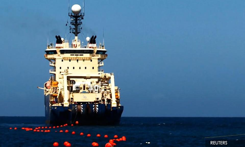 An undersea cable laying and repair ship.