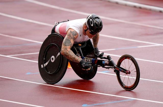 Great Britain's David Weir finished fifth in the T54 marathon