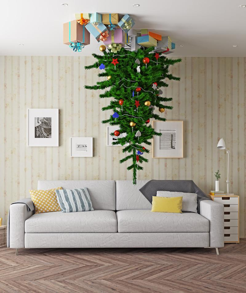 upside down christmas trees are 2017s hilarious holiday trend - Upside Down Christmas Tree Decorated