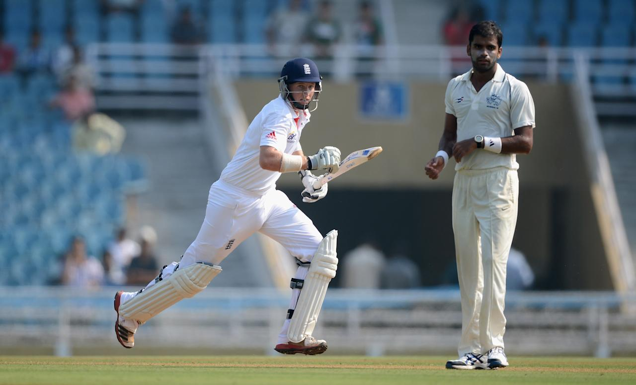 MUMBAI, INDIA - NOVEMBER 03:  Joe Root of England scores runs during day one of the tour match between Mumbai A and England at The Dr D.Y. Palit Sports Stadium on November 3, 2012 in Mumbai, India.  (Photo by Gareth Copley/Getty Images)