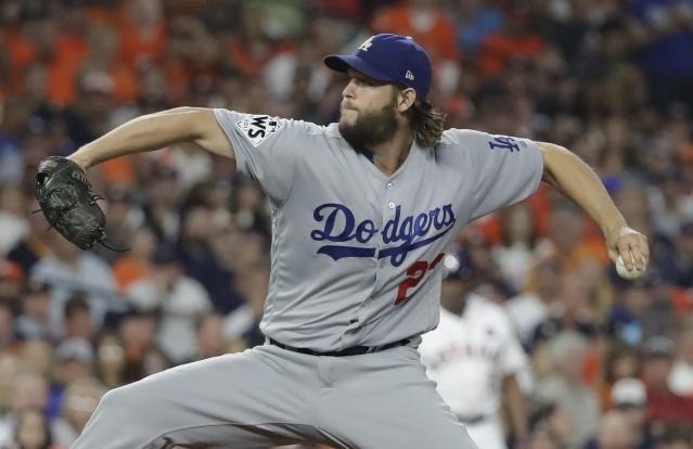 Clayton Kershaw throws during the first inning of Game 5 of baseball's World Series against the Houston Astros Sunday, Oct. 29, 2017, in Houston. (AP Photo/David J. Phillip)