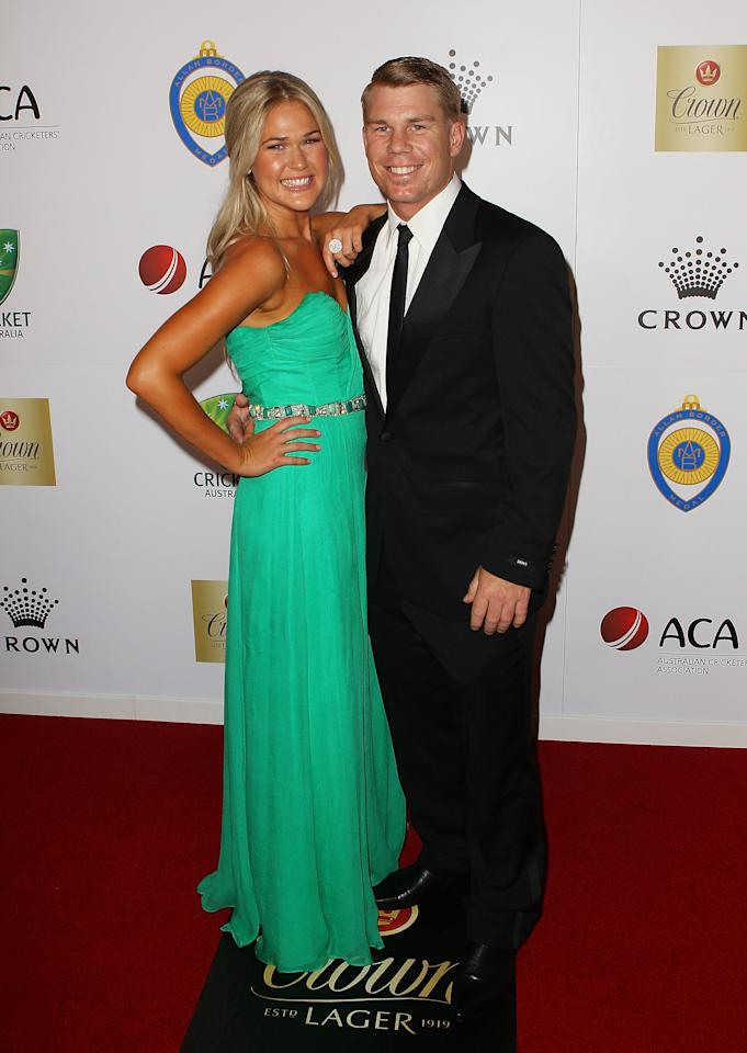 MELBOURNE, AUSTRALIA - FEBRUARY 27:  David Warner and Samantha Williams arrive at the 2012 Allan Border Medal Awards at Crown Palladium on February 27, 2012 in Melbourne, Australia.  (Photo by Scott Barbour/Getty Images)
