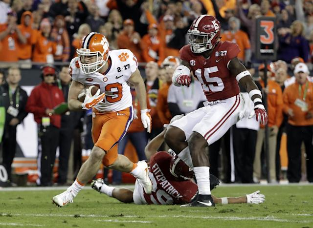 Clemson's Hunter Renfrow breaks away for a touchdown catch during the second half of the NCAA College Football Playoff championship game against Alabama on Monday, Jan. 9, 2017, in Tampa, Fla. (AP)