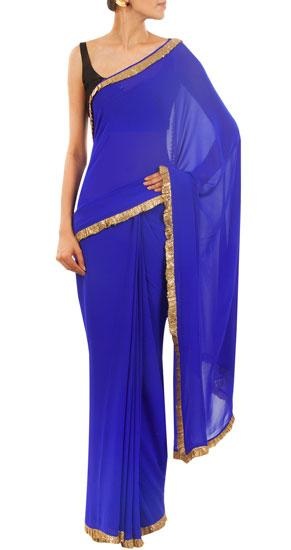 Deepika's cobalt sari with champagne sequins on Pernia's Pop-Up Shop