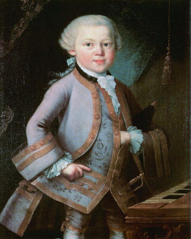 Mozart's hand gesture is similar to that of a mason