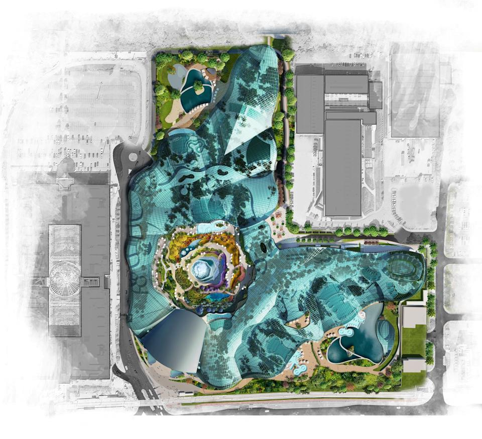 New images show more of what to expect from the huge new £250m Therme spa, water park and wellness centre that is being built next to the Trafford Centre.  The vast 'urban oasis' will be the UK's first city-based wellbeing resort which will sprawl across a huge 28-acre site next to the shopping mall at Barton Square.  It will be double the size of Therme's wellness centre in Bucharest, which opened in Romania in 2016.    CAPTION Therme Manchester would be in Trafford