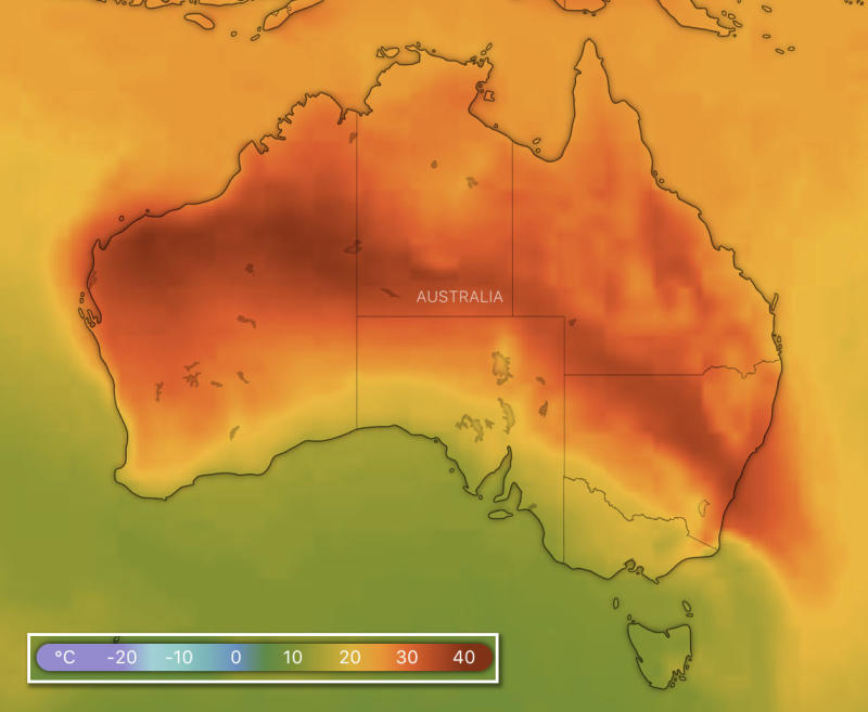 Temperatures are set to spike on Thursday afternoon. A weather map shows the heat distribution for that day.