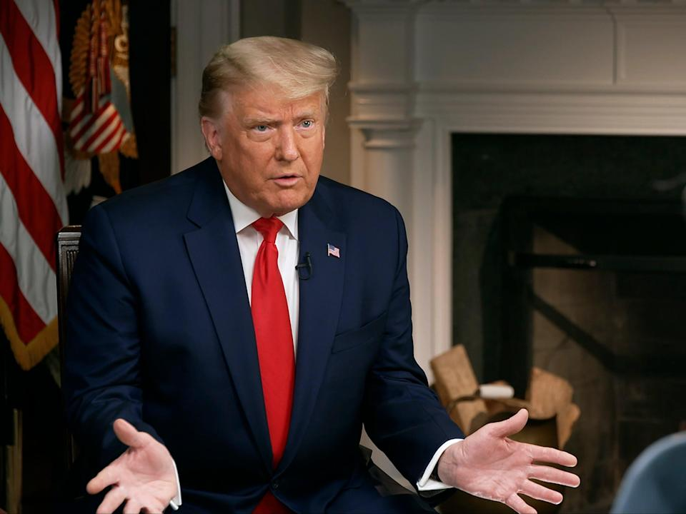President Donald Trump speaks during an interview conducted by Lesley Stahl in the White House, Tuesday 20 October 2020 ((Associated Press))