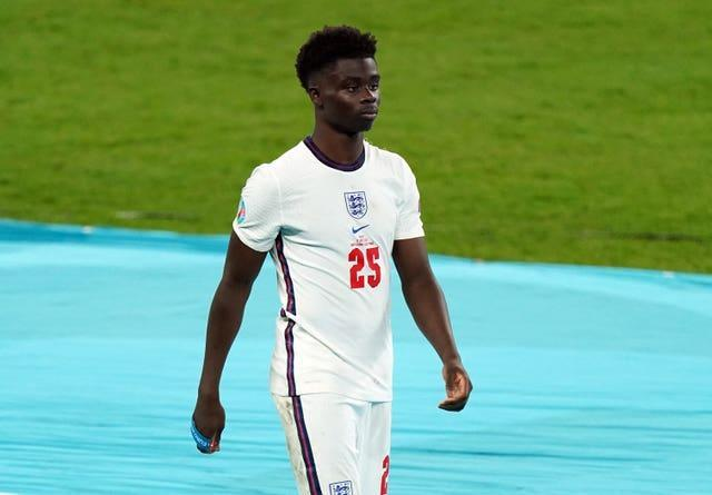 Bukayo Saka (pictured), Jadon Sancho and Marcus Rashford received racist abuse online after the Euro 2020 final (Mike Egerton/PA).