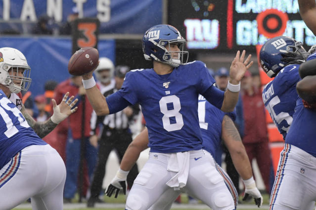 New York Giants quarterback Daniel Jones looks to throw during the first half of an NFL football game against the Arizona Cardinals, Sunday, Oct. 20, 2019, in East Rutherford, N.J. (AP Photo/Bill Kostroun)
