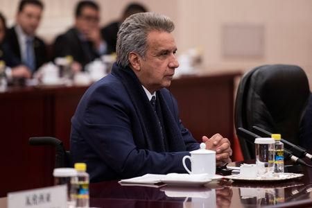 Ecuadorean President Lenin Moreno attends a meeting at the Great Hall of the People in Beijing