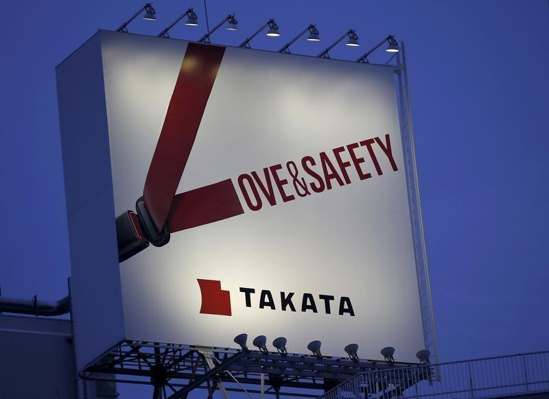 Billboard advertisement of Takata Corp is pictured in Tokyo
