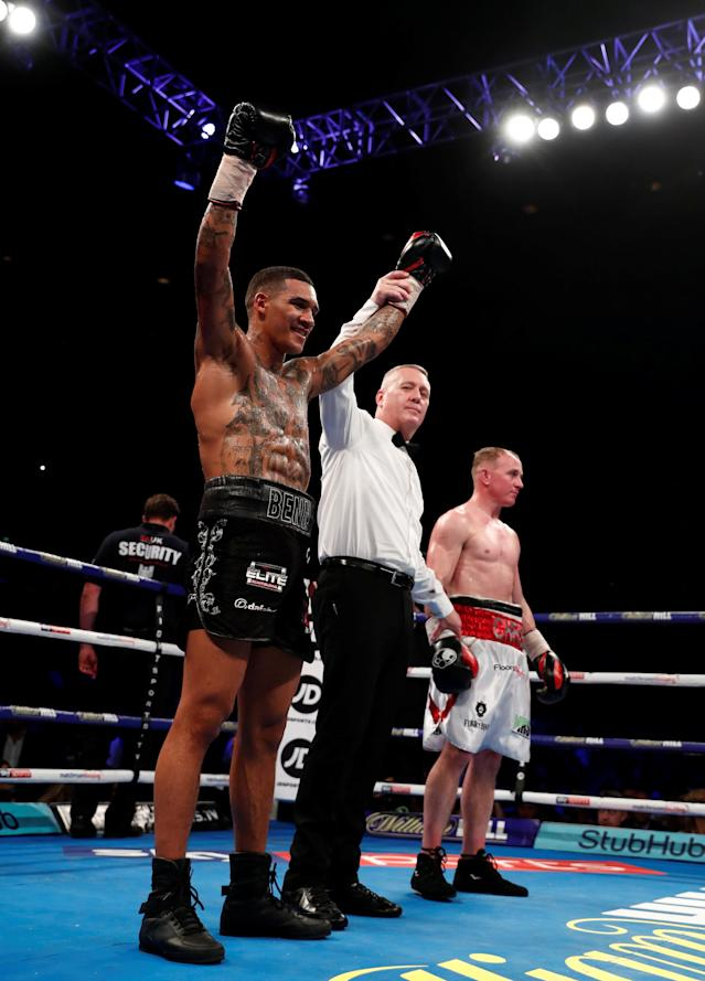 Boxing - Conor Benn v Chris Truman - Echo Arena, Liverpool, Britain - April 21, 2018 Conor Benn celebrates after winning the fight against Chris Truman Action Images via Reuters/Andrew Couldridge