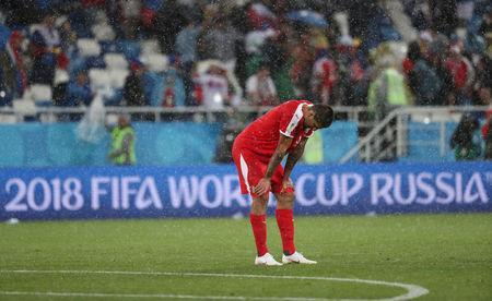 Soccer Football - World Cup - Group E - Serbia vs Switzerland - Kaliningrad Stadium, Kaliningrad, Russia - June 22, 2018 Serbia's Aleksandar Mitrovic looks dejected after the match REUTERS/Ricardo Moraes
