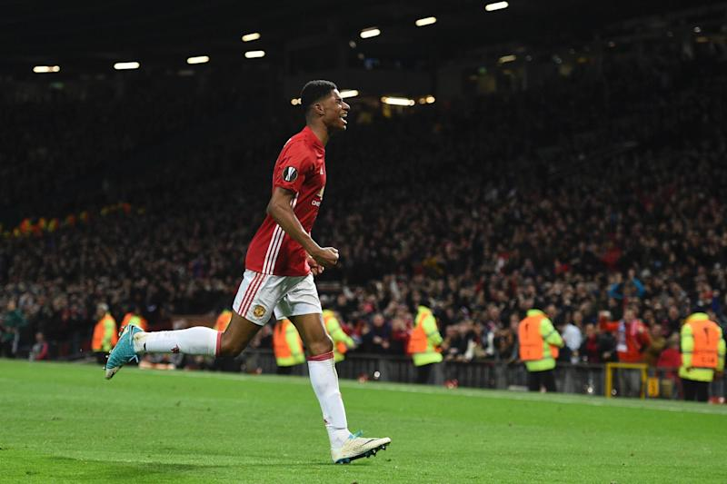 Winner | Marcus Rashford celebrates his goal in extra-time at Old Trafford: AFP/Getty Images