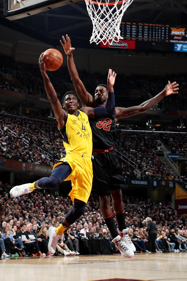 CLEVELAND, OH - APRIL 15: Victor Oladipo #4 of the Indiana Pacers shoots the ball against the Cleveland Cavaliers in Game One of Round One of the 2018 NBA Playoffs on April 15, 2018 at Quicken Loans Arena in Cleveland, Ohio. (Photo by Nathaniel S. Butler/NBAE via Getty Images)