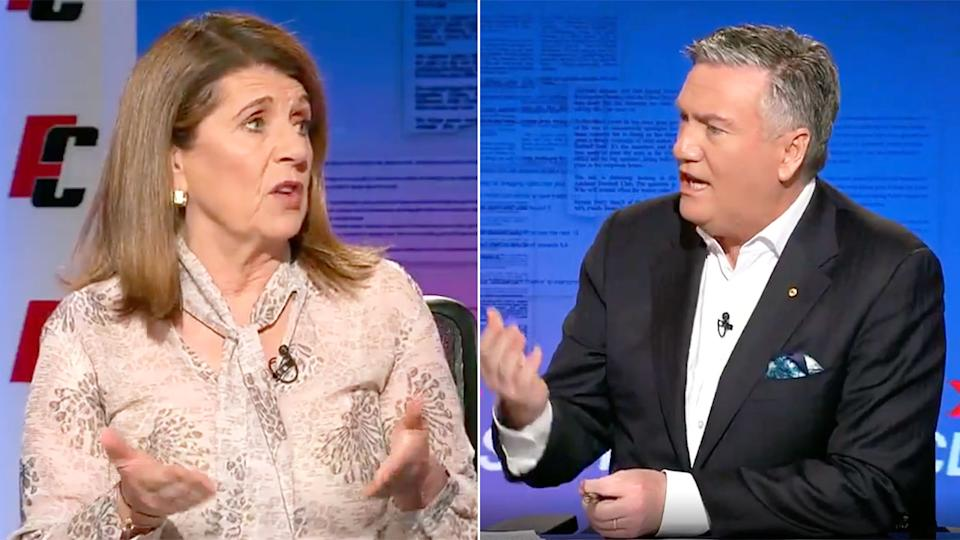 Seen here, Caroline Wilson and Eddie McGuire argue about the Tex Walker racism apology video.