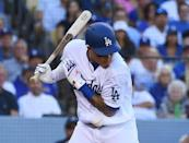 FILE PHOTO: Oct 17, 2018; Los Angeles, CA, USA; Los Angeles Dodgers shortstop Manny Machado (8) is hit by a pitch in the sixth inning against the Milwaukee Brewers in game five of the 2018 NLCS playoff baseball series at Dodger Stadium. Mandatory Credit: Jayne Kamin-Oncea-USA TODAY Sports