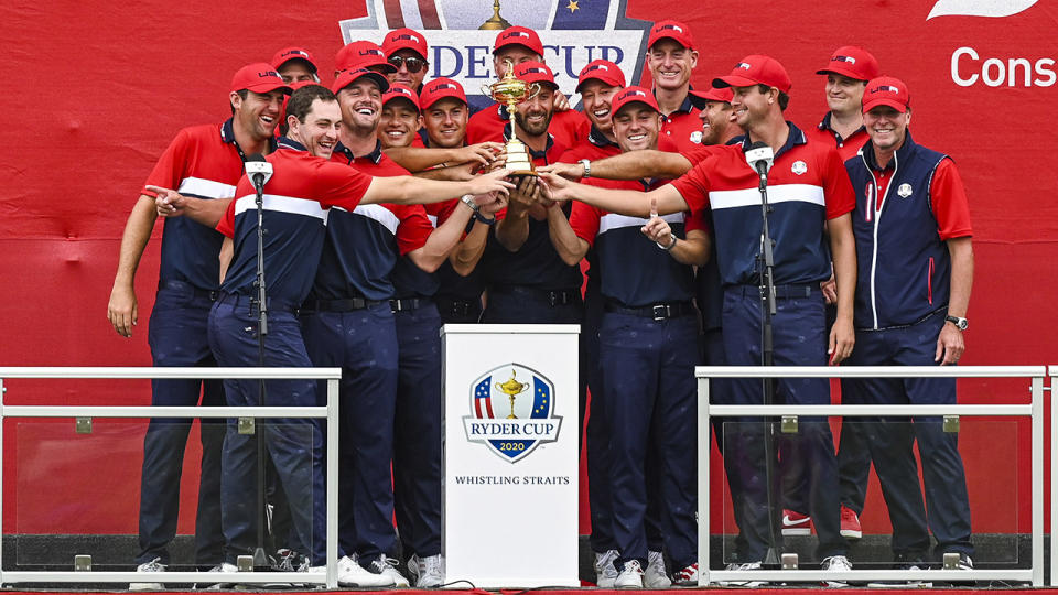 The Americans, pictured here with the trophy after winning the Ryder Cup.
