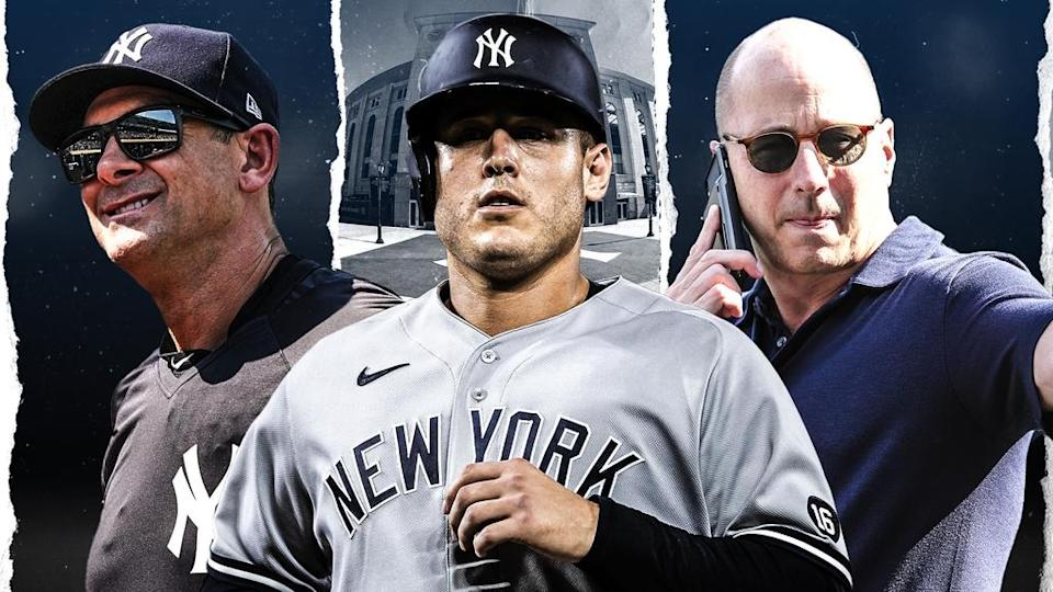 Aaron Boone, Anthony Rizzo and Brian Cashman treated image