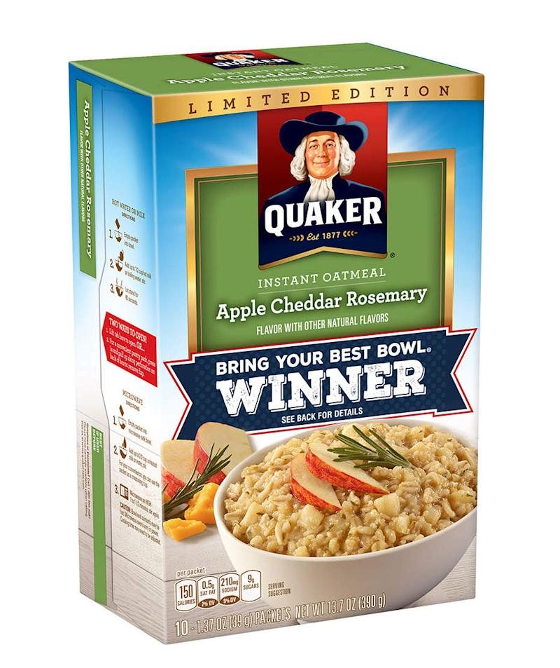 We Tried Quaker's New Apple Cheddar Rosemary Oatmeal