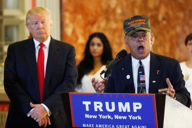 Veterans advocate Al Baldasaro speaks in support of Donald Trump at Trump Tower in New York City on May 31. (Photo: Lucas Jackson/Reuters)