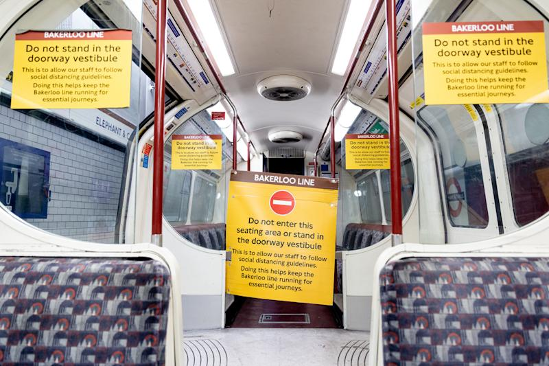 Social distancing notes are seen inside a Bacerloo line train in London Tube as cases of Covid-19 continue to rise in fear a second wave of pandemic will take over the city and  London will face a new lockdown In London, England, on September 29, 2020.. (Photo by Dominika Zarzycka/NurPhoto via Getty Images)