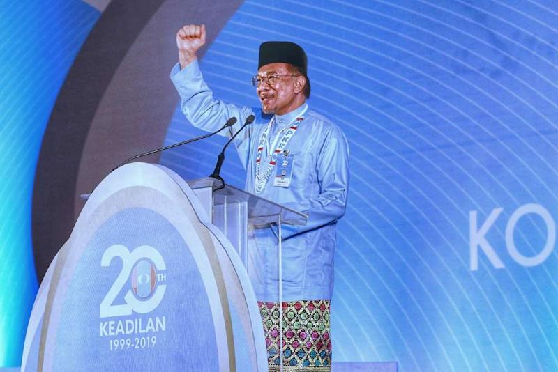 PKR president Datuk Seri Anwar Ibrahim delivers his opening speech during the PKR National Congress in Melaka December 7, 2019. ― Picture by Ahmad Zamzahuri
