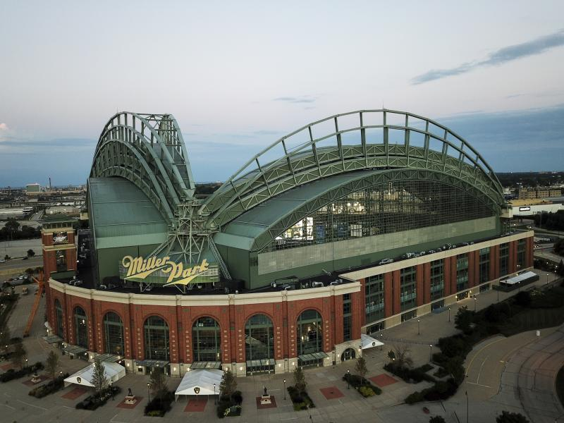 The front of Miller Park in Milwaukee with a blue sky and an empty concourse.