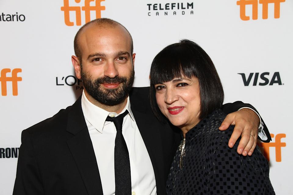 """TORONTO, ON - SEPTEMBER 14:  (L-R) Director Antonio Campos supported by his mother Rose Ganguzza for the """"Christine"""" Premiere held at The Elgin Theatre during the Toronto International Film Festival on September 14, 2016 in Toronto, Canada.  (Photo by Jeremychanphotography/Getty Images)"""