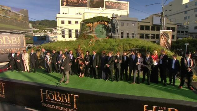 Director Peter Jackson speaks at the Wellington premiere and introduces the cast of the Hobbit.