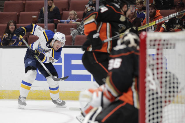 St. Louis Blues' Alexander Steen, left, watches his shot during the first period of an NHL hockey game against the Anaheim Ducks on Wednesday, March 6, 2019, in Anaheim, Calif. (AP Photo/Jae C. Hong)