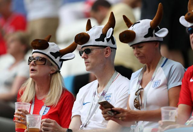 <p>England fans inside the stadium before the match </p>