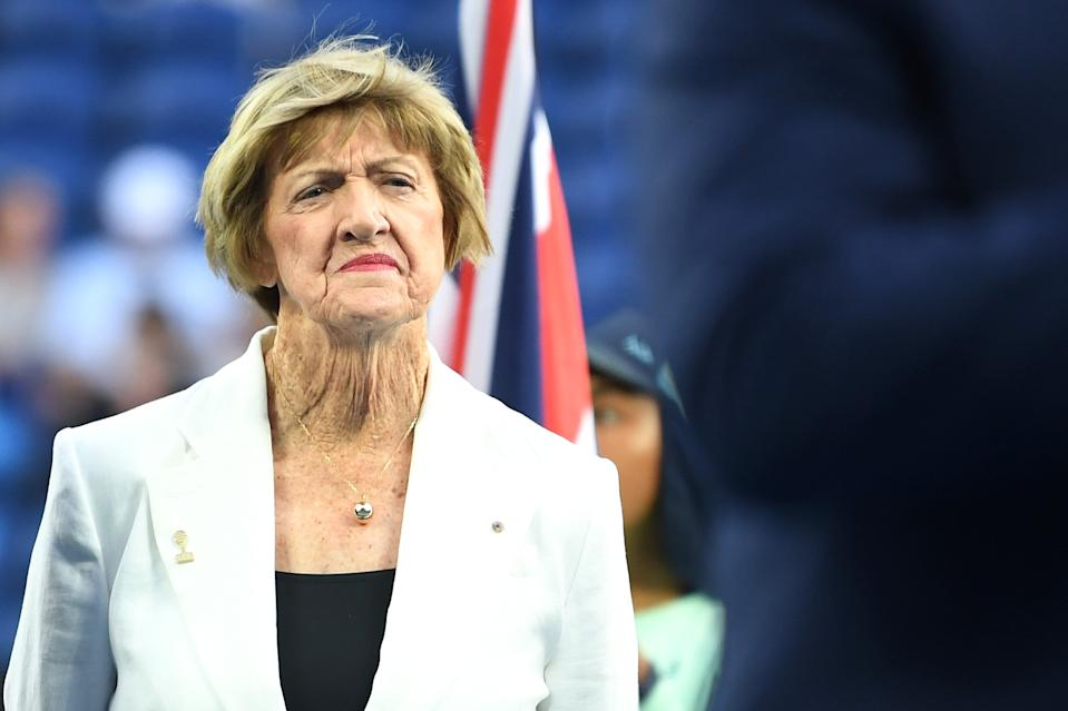 Margaret Court looks on during a Tennis Hall of Fame ceremony on day nine of the 2020 Australian Open at Melbourne Park on January 28, 2020 in Melbourne, Australia.