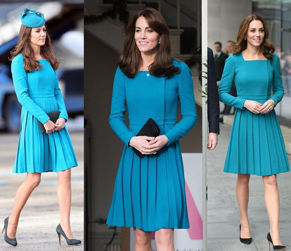 <p>Middleton has worn this pleated teal Emilia Wickstead dress coat three times, first in April 2014, then again in December 2014 and most recently for a visit to the BBC in November 2018. She has also worn a pink version of this frock multiple times! </p>