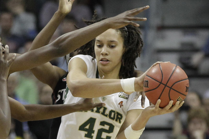 Baylor center Brittney Griner (42) looks for and opening during the second half in the NCAA women's Final Four semifinal college basketball game against Stanford, in Denver, Sunday, April 1, 2012. (AP Photo/Eric Gay)
