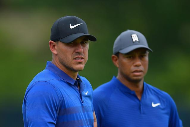 Brooks Koepka, left, and Tiger Woods are the winners of the last two major championships. The two are paired together for the opening two rounds of the PGA Championship. (Getty Images)